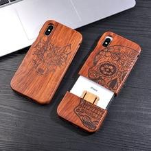 Чехол из натурального дерева для iphone X 8 7 6 6s плюс SE 5 5S samsung Galaxy Note 8 S6 S7edge S8 S9Plus крышка ретро тиснением деревянный Coque
