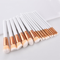 GUJHUI 15pcs Pro Makeup Brushes Set Pinceaux Foundation Powder Eyeshadow Eyeliner Lip White Makeup Brush Sets