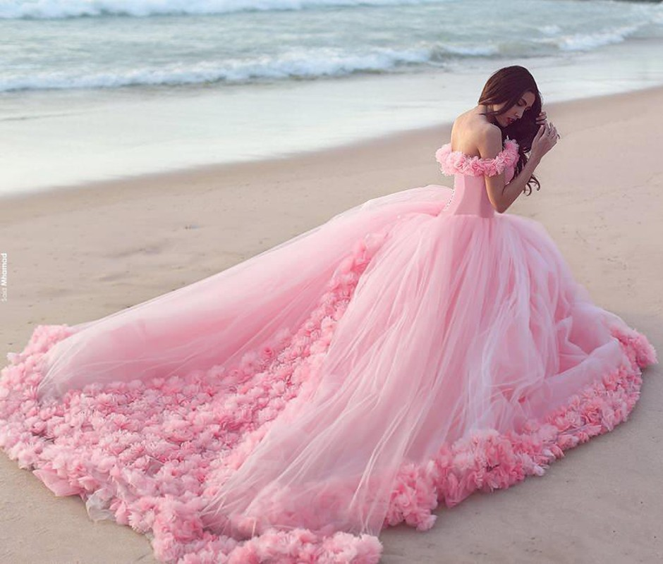 2017 Pink Quinceanera Dresses Princess Cinderella With 3D ...