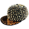 HOT!! Hedgehog Punk Hiphop Unisex Hat Ouro Spikes Spiky Studded Cap Top Freeshipping