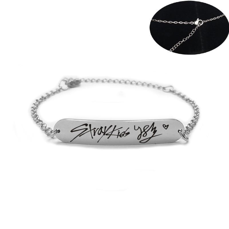 Stainless Steel Bracelet Stray Kids Member Signature Letter Silver Chain Bracelets For Women Men Jewelry Accessories