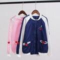 Женщины осень Harajuku ветер Мягкой сестра Kawaii любовь в форме сердца вышивка Все Матч школа студенты короткий жакет для девочек