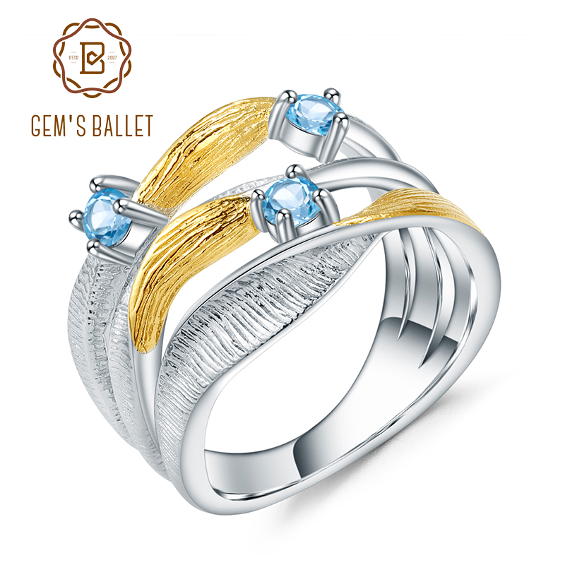 GEM'S BALLET 925 Sterling Silver Handmade Band Twist Rings 0.47Ct Natural Swiss Blue Topaz Gemstones Ring for Women Bijoux