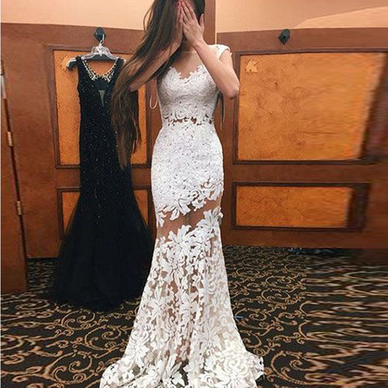 White backless 2019 fashion   dress   explosion models sexy lace openwork sleeveless   dress   long skirt banquet elegant   evening     dress