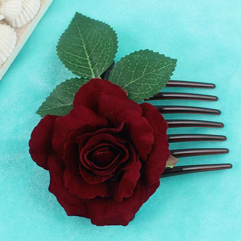 Romantic Fancy Silk Artificial Rose Flower Hair Comb Purple White Hair Clip Wedding Bridal Women Prom Headpiece Party Hair Tool