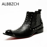 New mens luxury rivets design gneuine leather boots men pointed toe slip on fashion ankle boots man nightclub bars cowboy boots
