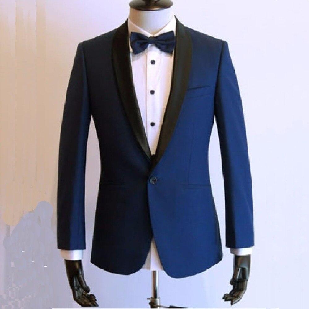 Custom Made Wedding Suits Voor Mannen Tuxedo Suit, bespoke 2018 Fashion Donkerblauw Twee Stuk Pak Zwart Satijnen Sjaal Revers-in Pakken van Mannenkleding op  Groep 1