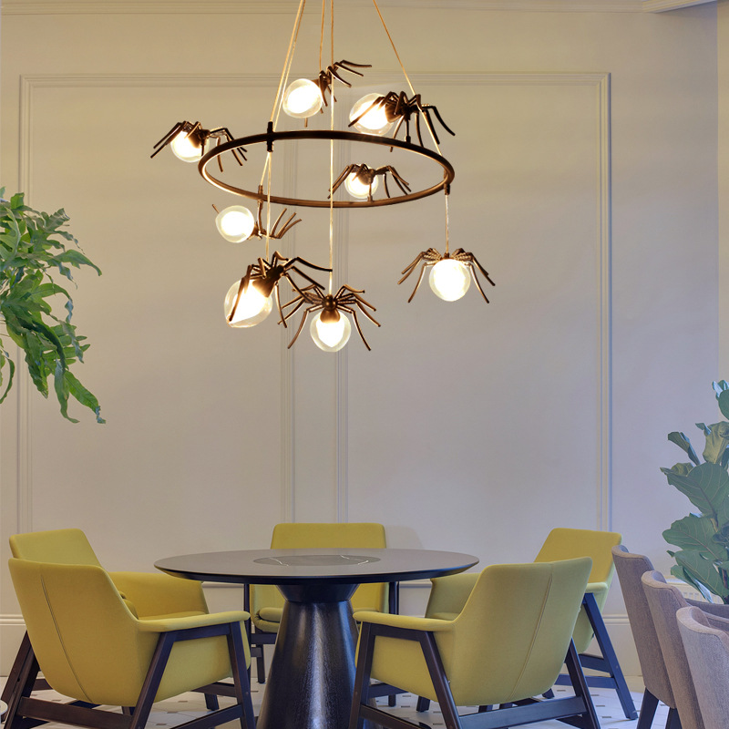 Us 177 13 16 Off Unique Personality Spider Pendant Lights Vintage Hanglamp Living Room Dining Bar Lamp Insect Decoration In