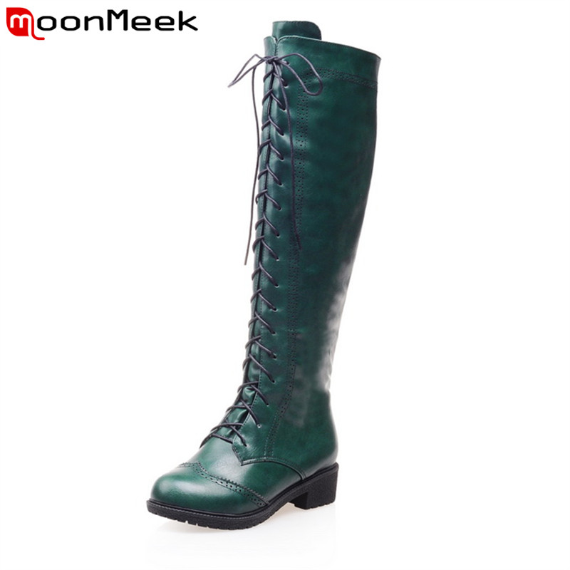 MoonMeek Punk style zip lace up the knee high boots high quality pu soft leather round