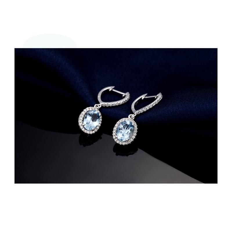 Caimao bijoux classique 14 K or blanc bleu Aquamorine & diamant boucles d'oreilles de mariage - 3