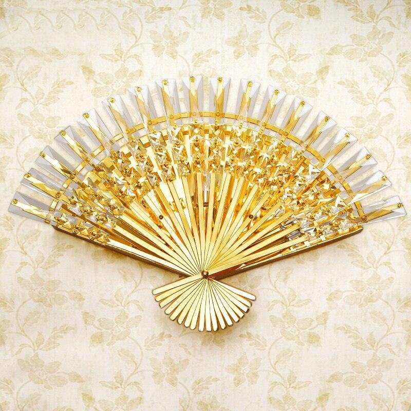 Modern Golden Fan Shape LED Crystal Wall Lamps for livingroom bathroom as Decoration Sconce Light 90-260V lamparas de pared