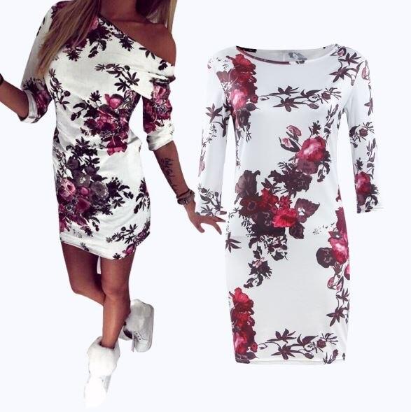 Woman Stylish Floral Print O -Neck Mini Skinny Dress Round Collar Pencil