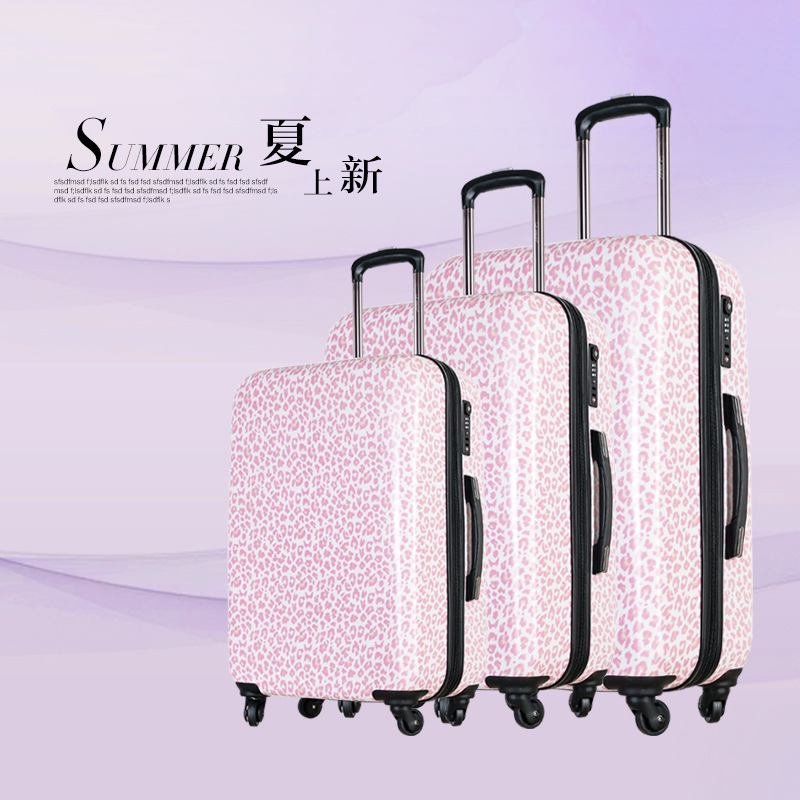 20 2428ABS Pink leopard grain luggage suitcase Multi Wheel carry on cabin travel trolley case rolling luggage suitcase wheels