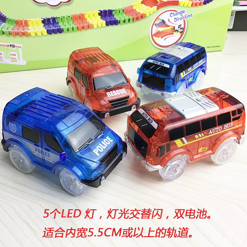 5.2cm Magic Diecasts <font><b>Electronics</b></font> LED <font><b>Car</b></font> <font><b>Toys</b></font> Flashing Lights Kids Christmas Birthday Gift Play with Glow Racing Tracks Together image