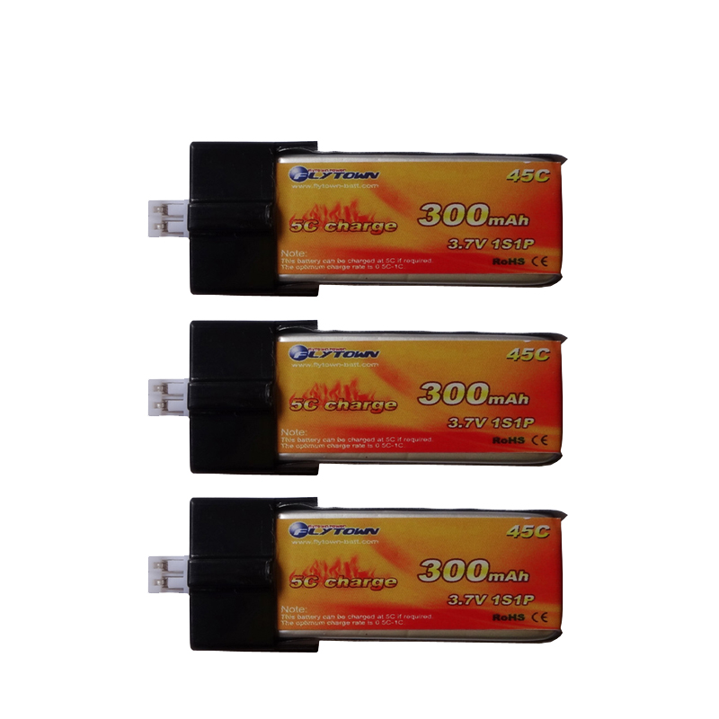 3PCS Flytown <font><b>300mAh</b></font> <font><b>3.7V</b></font> 45C/90C <font><b>Lipo</b></font> <font><b>battery</b></font> with PH2.0 Plug for EFLITE E-Flite Blade mCPX FBL100 Nano QX 3D Helicopter parts image