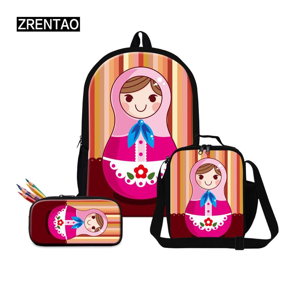 Matryoshka poupée impression maternelle primaire école étudiants adolescents garçons filles mignon école sac à dos avec lunchbagfairy ilbag ensembles