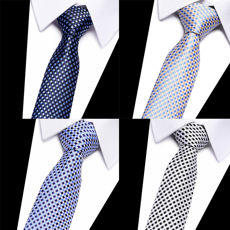 Brand Cravate 2018 New Mens Neck Ties 8cm Classic Plaid Wedding Tie For Groom Men's Neckties Slim Silk Ties 7.5cm T00198