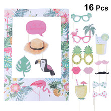 16pcs Tropical Hawaiian Summer Theme Photo Frame Photo Booth Wedding Supplies Set Flamingo Pineapple Luau Party Decorations(China)