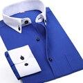 2016 мужская бизнес свободного покроя с длинными рукавами белых воротничков сорочка Homme черный синий красный фиолетовый мужской Camisa социальной Masculina