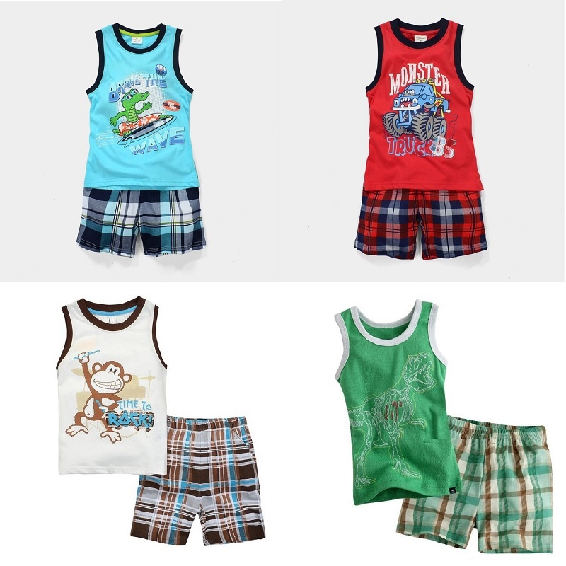 Summer Sleeveless Baby Boy Clothes Suits 100% Cotton Children T-Shirts Shorts Pant Singlet Vest Plaid Panties Beach Kid Tank Top new 2015 summer children t shirts baby clothes child 100