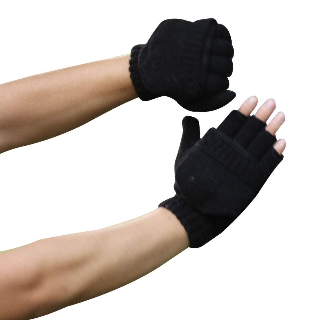 Hot Thick Male Fingerless Gloves Men Wool Winter Warm