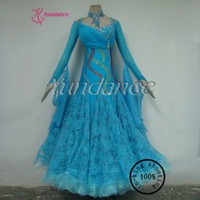 B-12755 sequin design blue ballroom dancing dresses for competition china