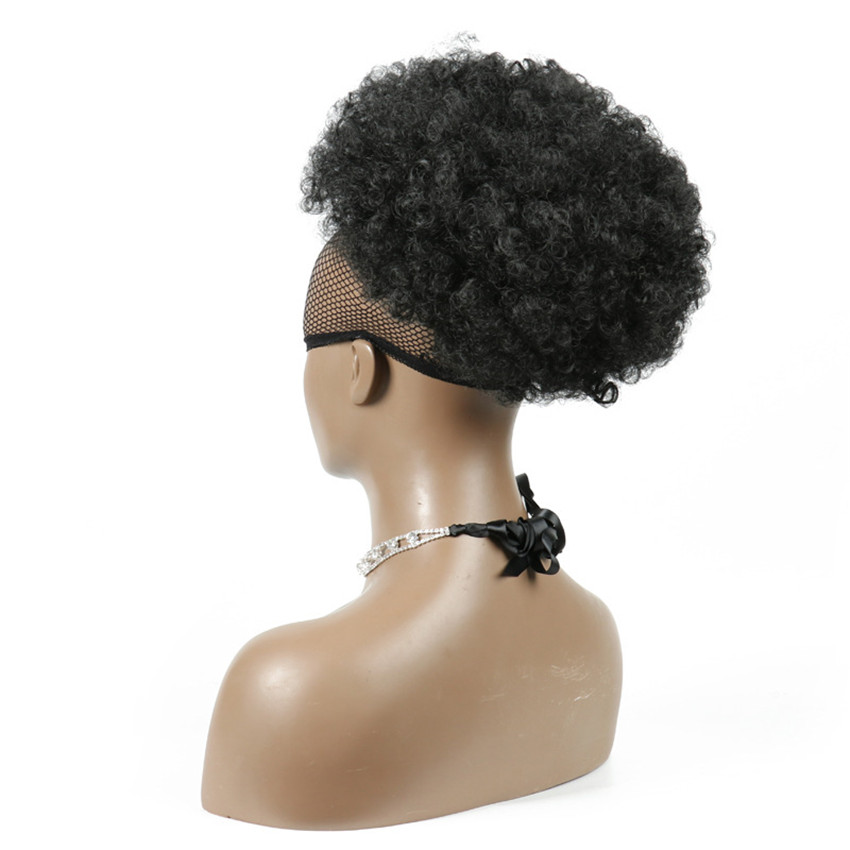 Gres Drawstring Short Afro Kinky Pony Tail Puff Afro Curly Wig Ponytail Clip in on Synthetic Curly Hair Bun Heat Resistant Fiber(China)