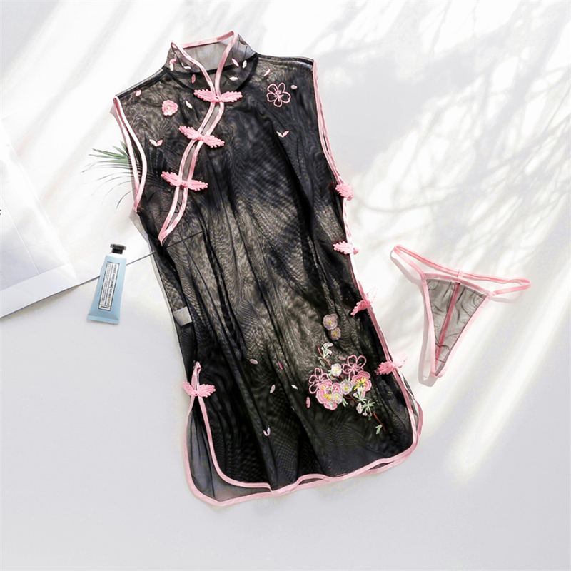 Sweet Chinese Cheongsam Babydoll Sexy Lingerie Women Flower Embroidery Solid Transparent Lingerie Sexy Hot Erotic Costumes