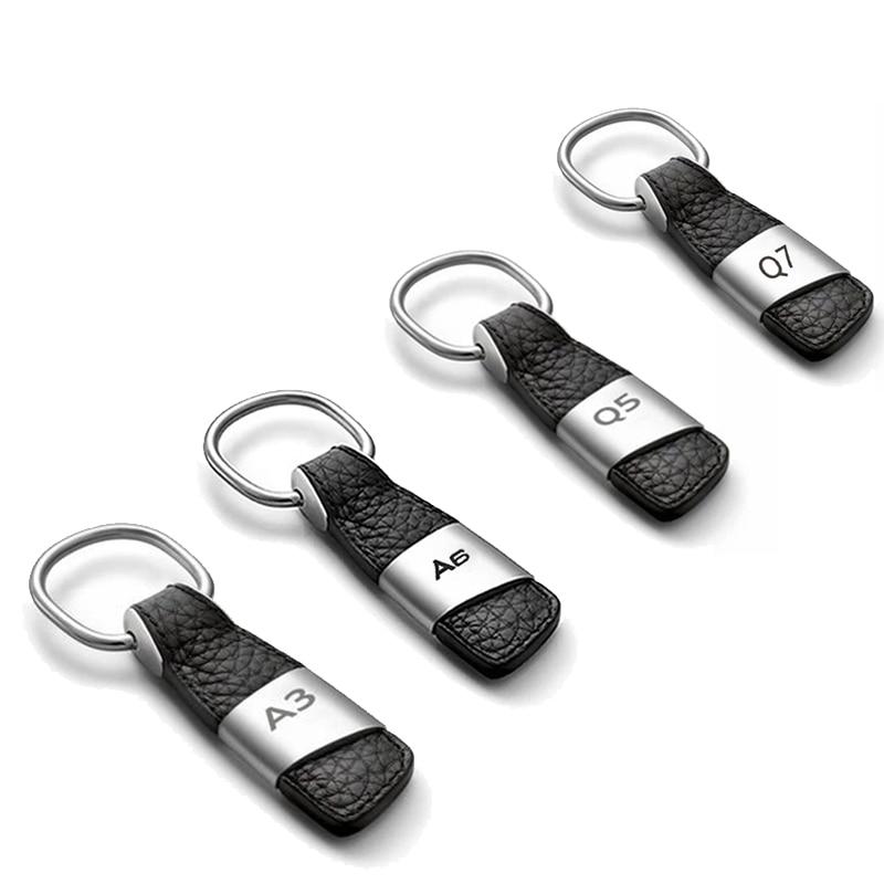 For Audi A3 A4 B6 B8 B5 B7 A6 C5 C6 A5 80 Q5 Q7 Q3 TT 100 8L 8P 8V A1 A8 A7 A2 S3 S4 RS Emblem Keychain Car Key Holder Keyring bkt tr135 8 3 28 6pr tt