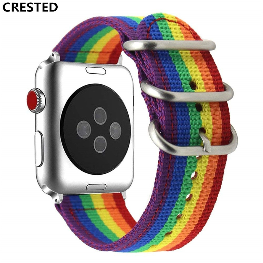 CRESTED sport Woven Nylon strap For Apple Watch band 42mm 38mm iwatch series 4/3/2/1 rainbow wrist bands bracelet watchband belt crested crazy horse strap for apple watch band 42mm 38mm iwatch series 3 2 1 leather straps wrist bands watchband bracelet belt