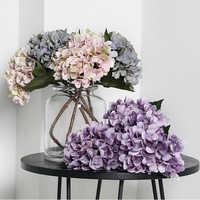 yumai 1pc Silk White Petals Hydrangea Branch Artificial Flowers Branch Bridal Wedding Flower Hand Balls Home Table Decor
