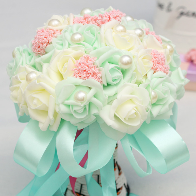 Pack with Box Mint Green Artificial Pearls Wedding Bouquets 2016 Romantic Bridal Flowers bouquets casamento Wedding Accessories
