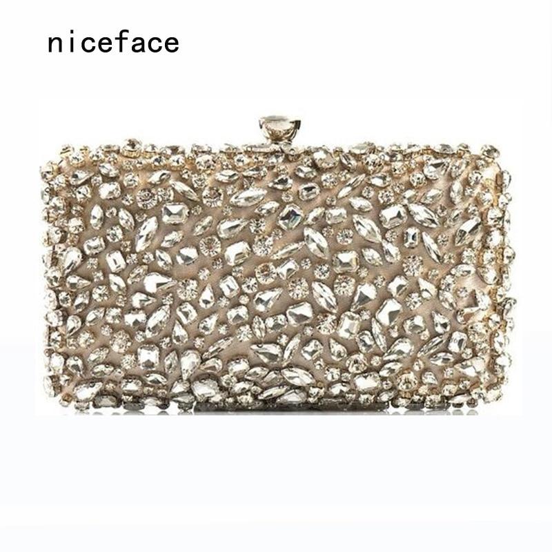 2017 New Wallet Women evening bag Noble luxury fashion handbags handmade glass diamond woman Dinner Clutch vintage evening bag