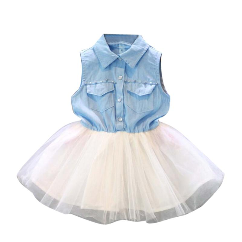 Wholesale Newest Regular Cute Princess Wedding Pageant Party Sleeveless Tutu Denim Gauze Clothes Kids Dresses For Girls Clothes