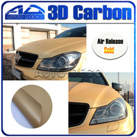 Wholesale1.52MX30M Gold 3D Carbon Fiber Vinyl Film Auto Body Wrapping Aufkleber Mit Luftkanal/FedEx Freies Verschiffen