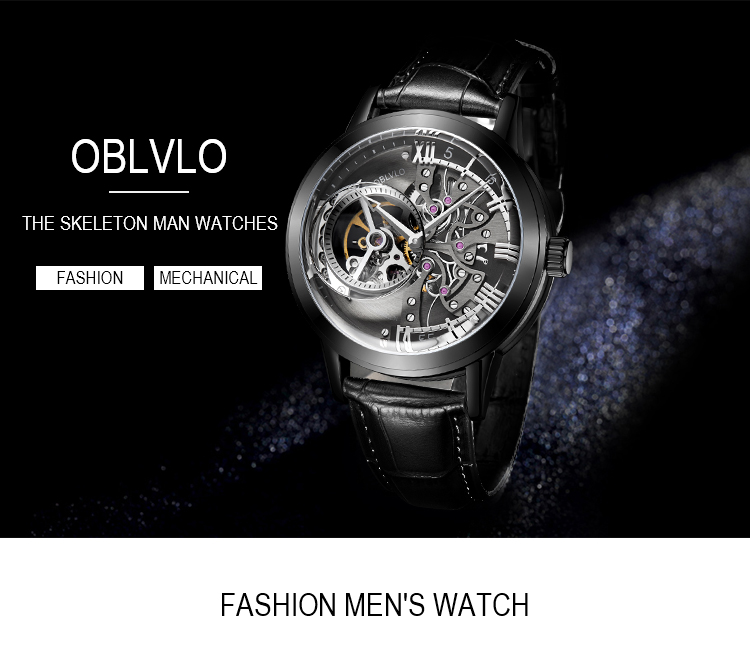 OBLVLO Luxury Casual Watches Rose Gold Tone Genuine Leather Strap Skeleton Automatic Watches for Men VM 1