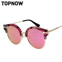 5013c6f6c9 New Cat Eye Sunglasses Women Brand Designer Fashion Vintage Floral Frame  Round UV Sun Glasses Men