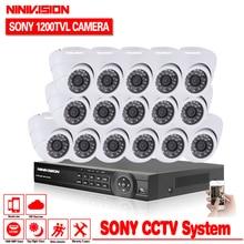 16CH CCTV System 1080P DVR 16CH CCTV Security Camera System 1200tvl indoor Day Night IR Camera