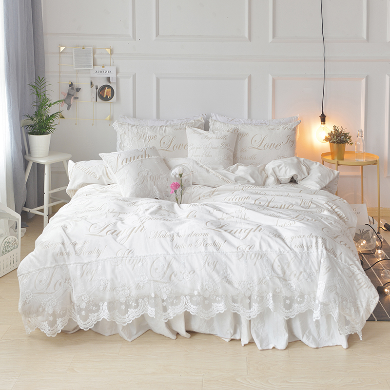 Romantic Princess Ruffle White Lace Bedding Set Queen & King Size Bed Covers Bedspread Soft Velvet Fabric Winter Textiles Sets
