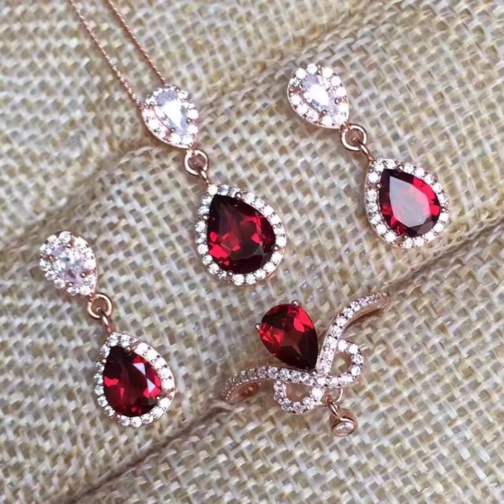 MeiBaPJ Fine Quality Natural Red Garnet Gemstone Trendy Jewelry set for Women Real 925 Sterling