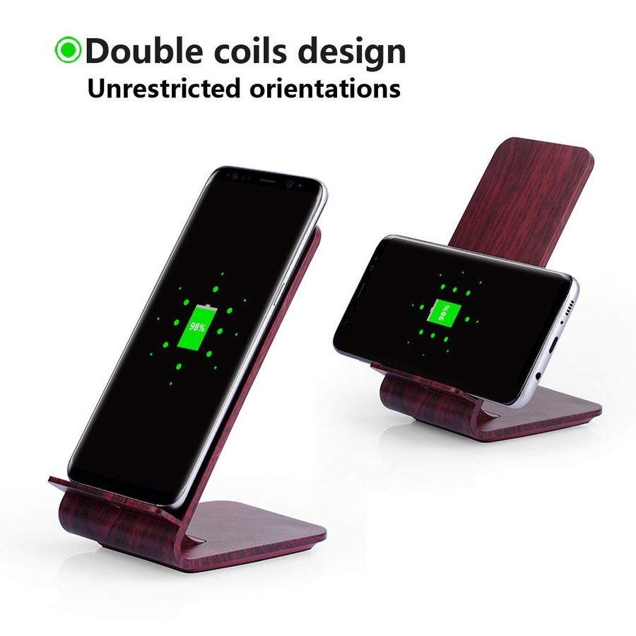 Support de support en bois de bambou chargeur Qi sans fil pour Samsung S7 S8 S9 PLUS NOTE 8 Charge de téléphone portable