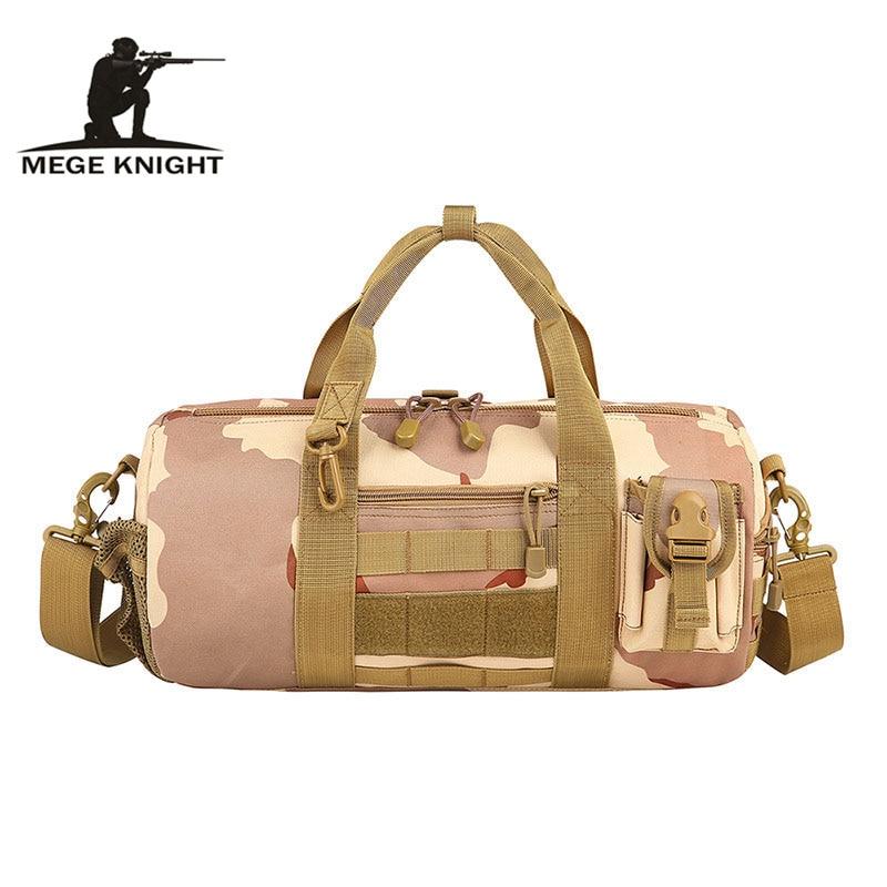 MEGE Brand MOLLE Unisex Military Camouflage Travelling Waterproof Messenger Bag Handbag Army Hunter Nylon Barrel Bag