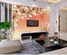 Custom 3D Photo Wallpaper Modern Flower Wall Mural Wall Paper Living Room Sofa TV Background Non-woven Fabric Wallpaper Bed Room(China)