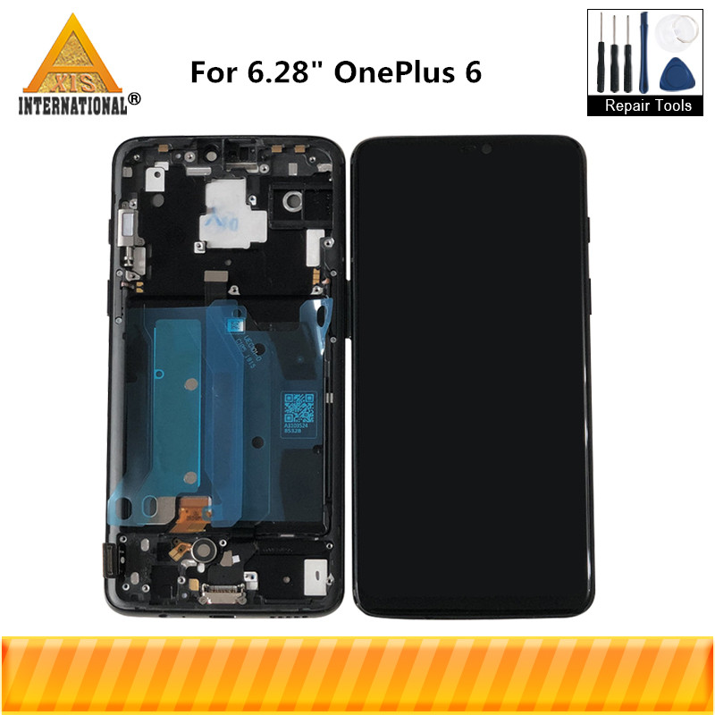Original Axisinternational For 6 28 OnePlus 6 Oneplus 6 LCD Screen Display With Frame Touch Panel