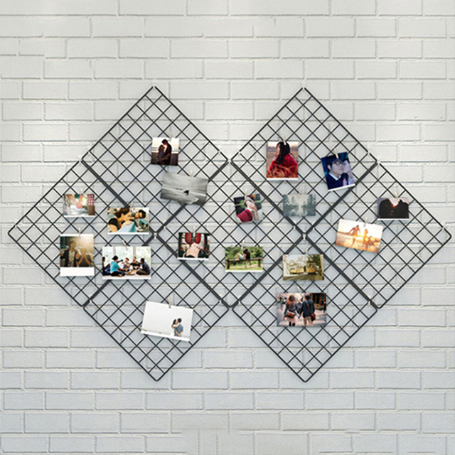 Iron Metal Wall Mesh Grid Hanging Photo Frame Multi-frame Pictures Photos Storage Rack Home DIY Decoration Gift Event Decor