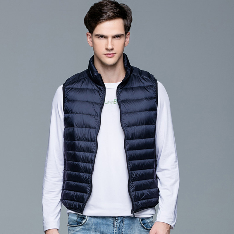 Winter Men Vest Sleeveless Men Ultra Light Down Vests Zipper Quilted Black Blue Waistcoat