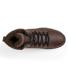 Super Warm Winter Men Boots Genuine Leather Shoes Military Fur For Zapatos Hombre DX5