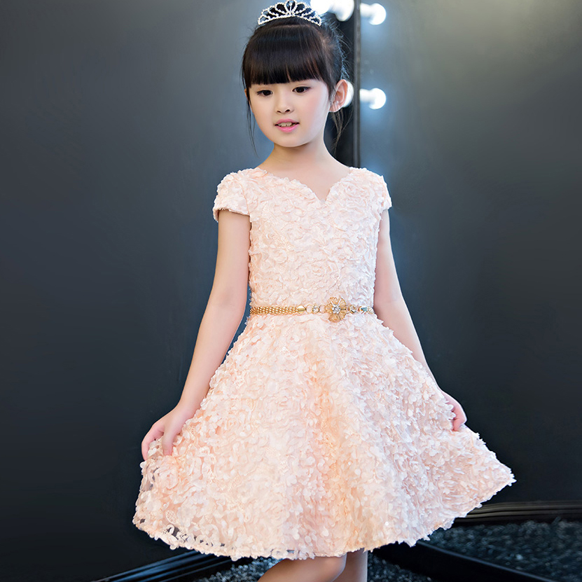 2017 New Korean Kids Sweet Summer Flowers Party Dresses For Weddings Children Princess Evening Birthday Ball Gown Clothes Dress 4pcs new for ball uff bes m18mg noc80b s04g