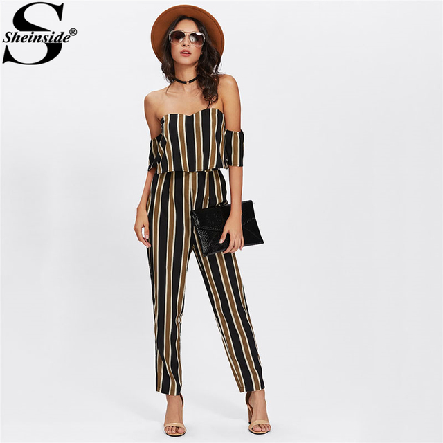 eed104cc2 Sheinside Flounce Layered Neck Striped Jumpsuit 2018 Off The Shoulder Short  Sleeve Sexy Jumpsuit Women Elegant Party Jumpsuit