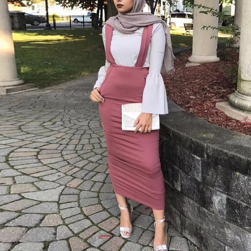 Vestidos Abaya Dubai Turkey Arabic Bodycon Muslim Suspender Skirt Suspenders Hijab Dress Qatar  Women Turkish Islamic Clothing